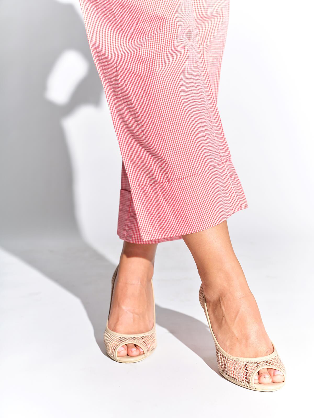 2000'ler vintage kafesli ekru ayakkabı