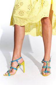2000ler İspanyol yapımı yazlık sarı turkuvaz renkli taşlı vintage ayakkabı