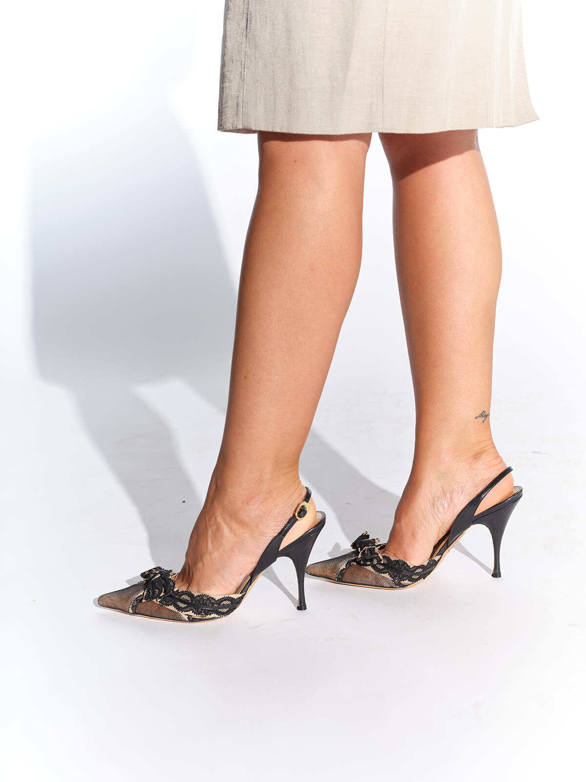 Alessandro Dell'Acqua siyah pembe dantel ayakkabı