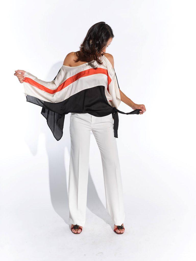 2000ler İpek avangard kırmızı beyaz siyah çizgili bluz