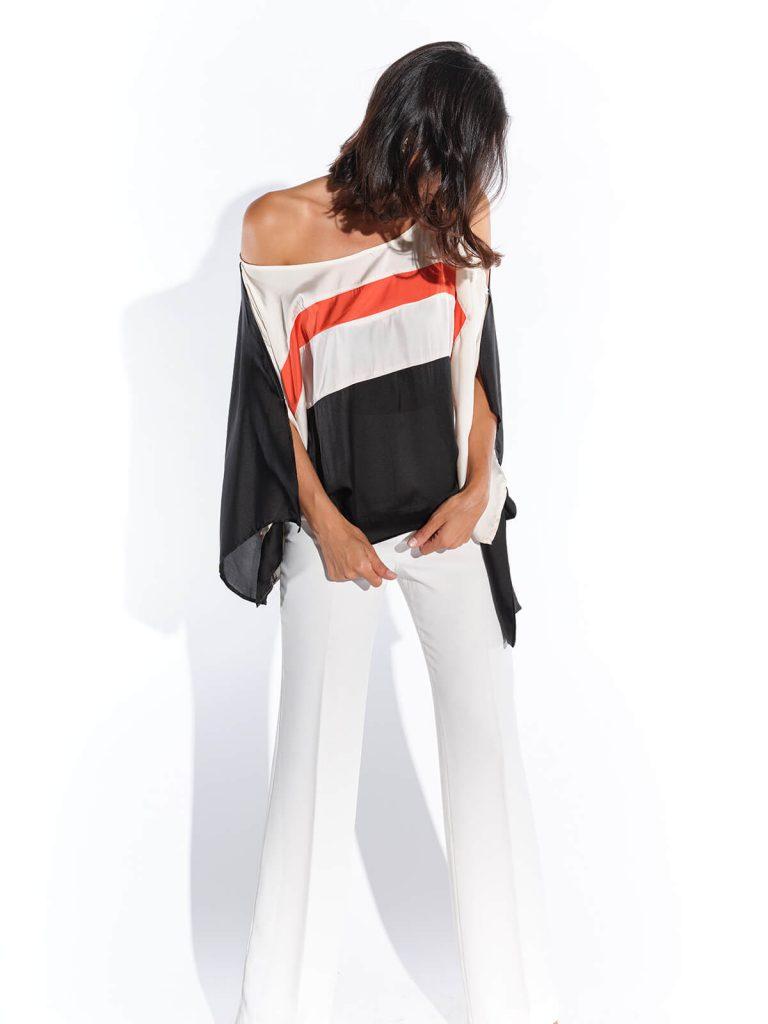 2000ler İpek avangart kırmızı beyaz siyah çizgili bluz