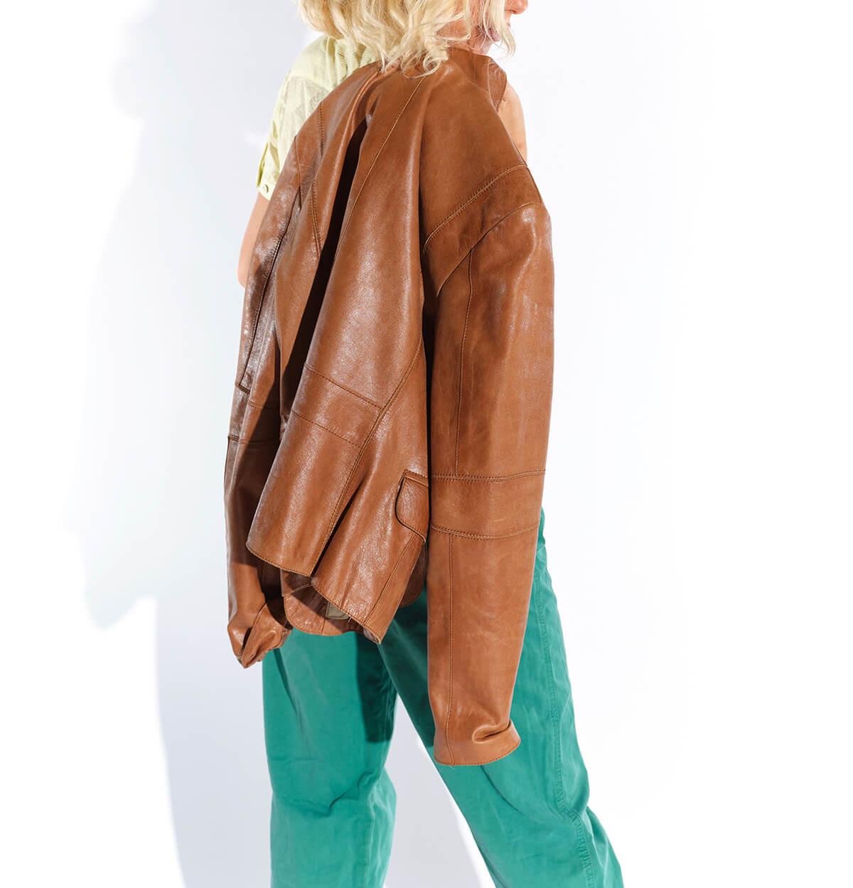 2000ler tarçın rengi kısa deri ceket