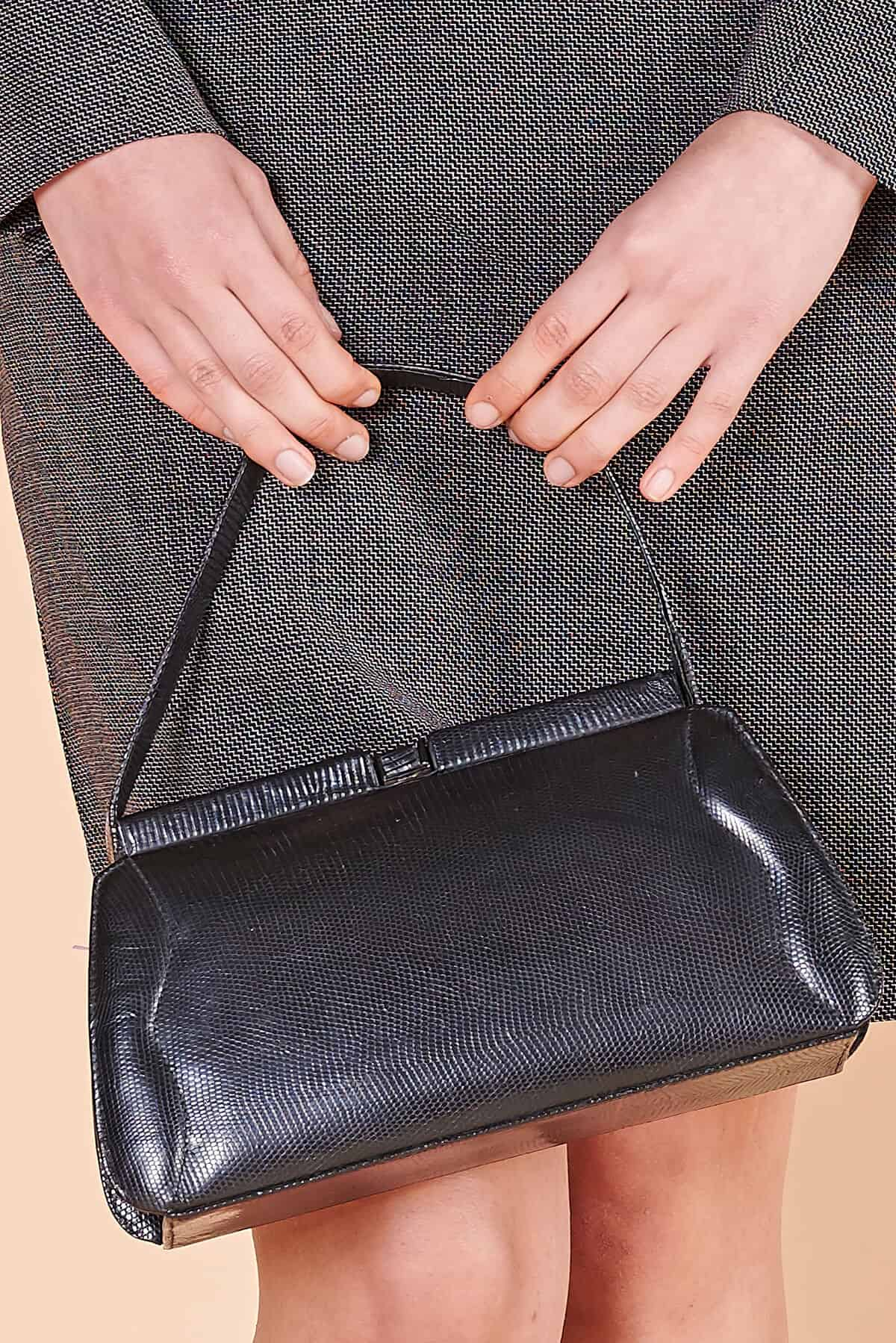 40lar dönemi glase deri vintage çanta