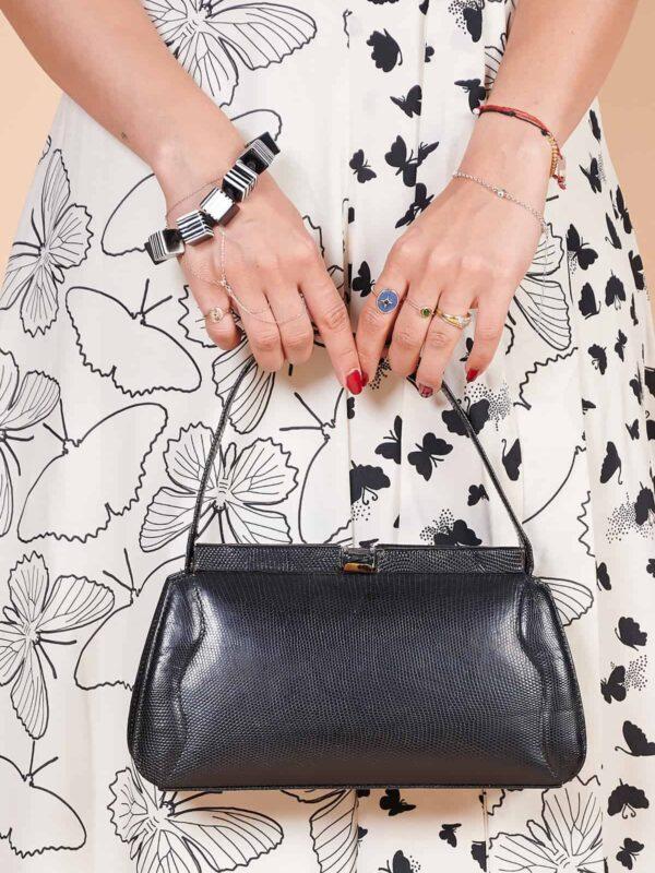 1940'lar glase deri hafif vintage el çantası