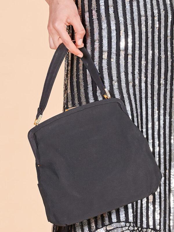 40'lar siyah kumaş el çantası