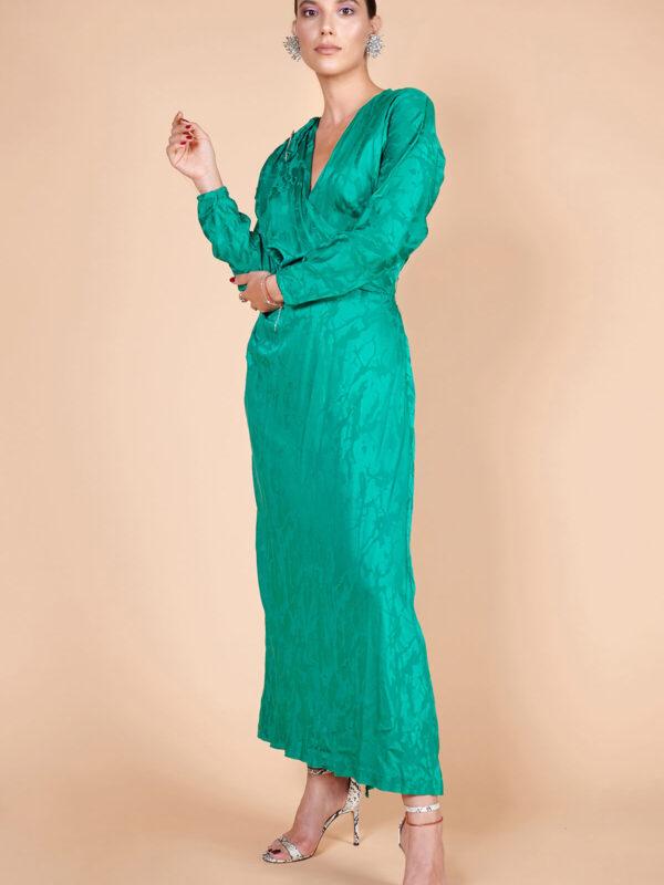 40lar yeşil brokar desenli ipek uzun elbise
