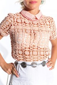 60lar vintage pembe delikli dantel bluz