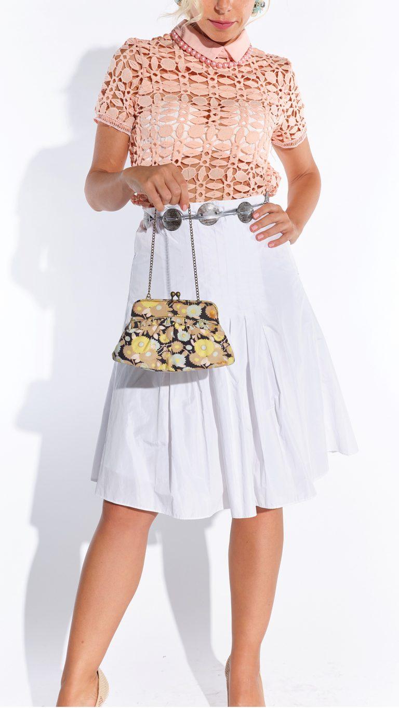 60'lar pembe delikli dantel küçük hanım vintage bluzu