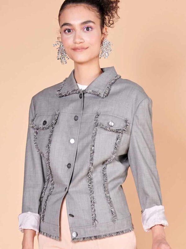 60'lar Escada gri baharlık vintage ceket önden cepli
