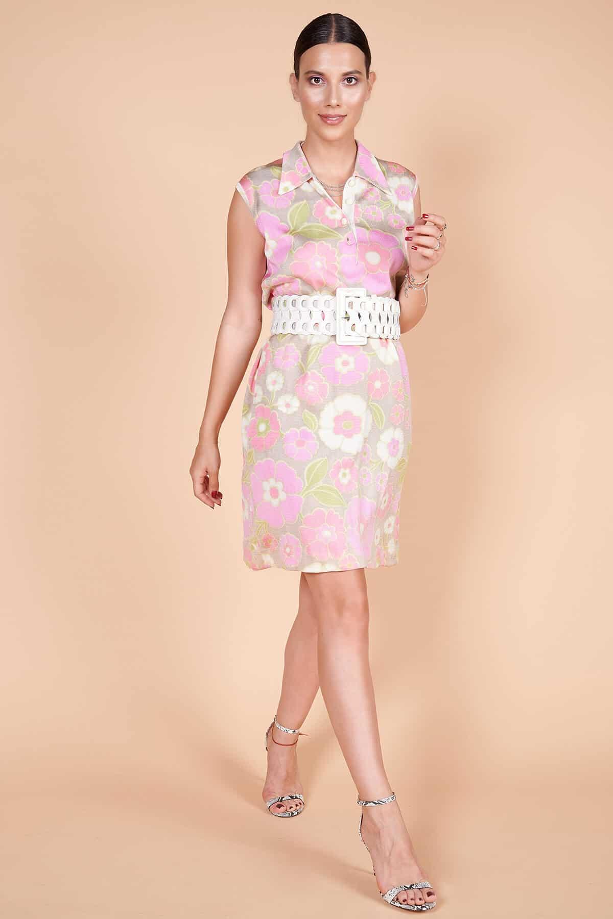 60'lar kaliteli ipek floş minimal floral çiçek desenli diz üstü elbise