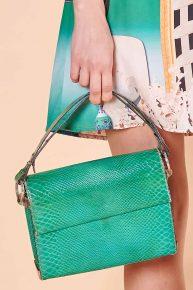 Charles Jourdan çanta, 70'ler yaprak yeşili yılan derisi el çantası