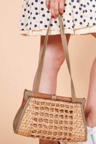 70ler bambu çanta, el yapımı omuzgan askılı yazlık vintage çanta