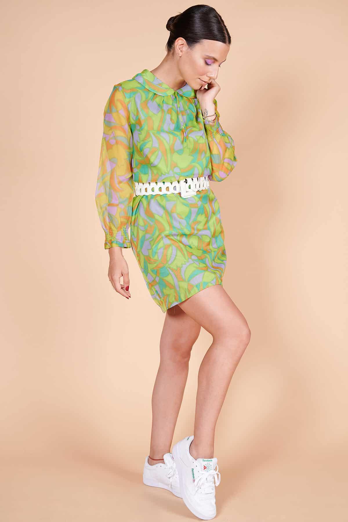 70ler retro desenli mini elbise