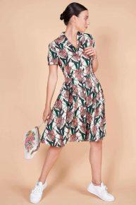 70ler desenli spor yarım kollu önden düğmeli elbise