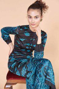 70ler elbisesi, Fransız marka jarse kumaş petrol yeşili siyah minimal uzun elbise