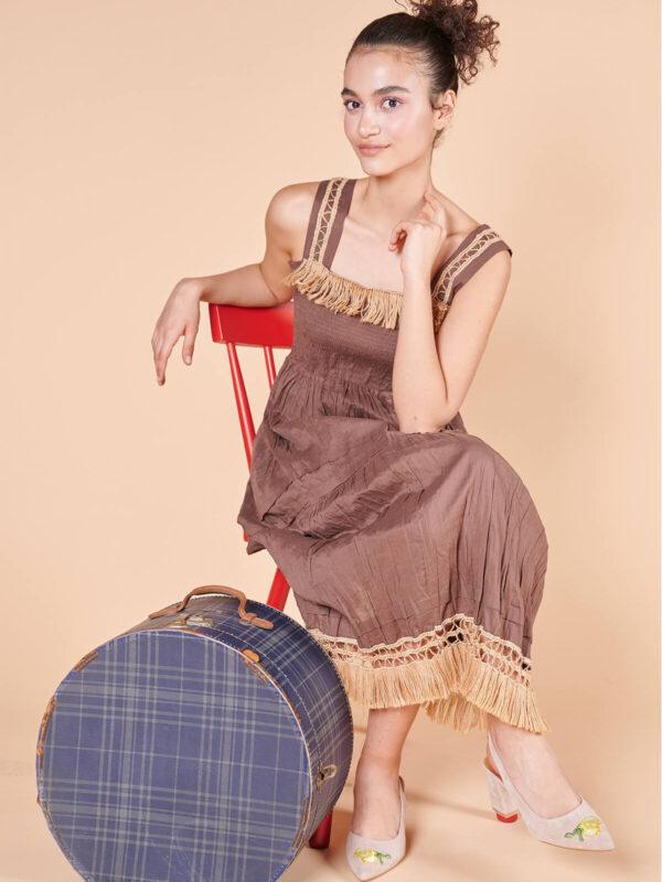 70ler midi boy askılı kızıl kestane rengi elbise