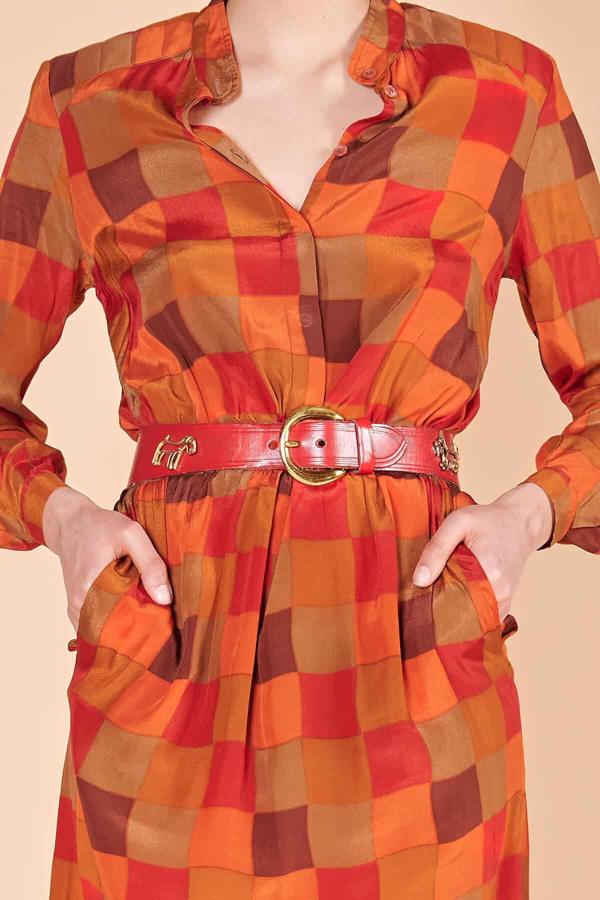 70ler, Joseph Janard kübik desenli ipek elbise