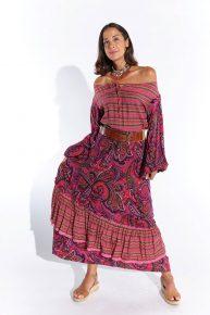 70ler modası 70ler vintage 70ler otantik desenli pamuklu kumaş maksi uzun kollu elbise