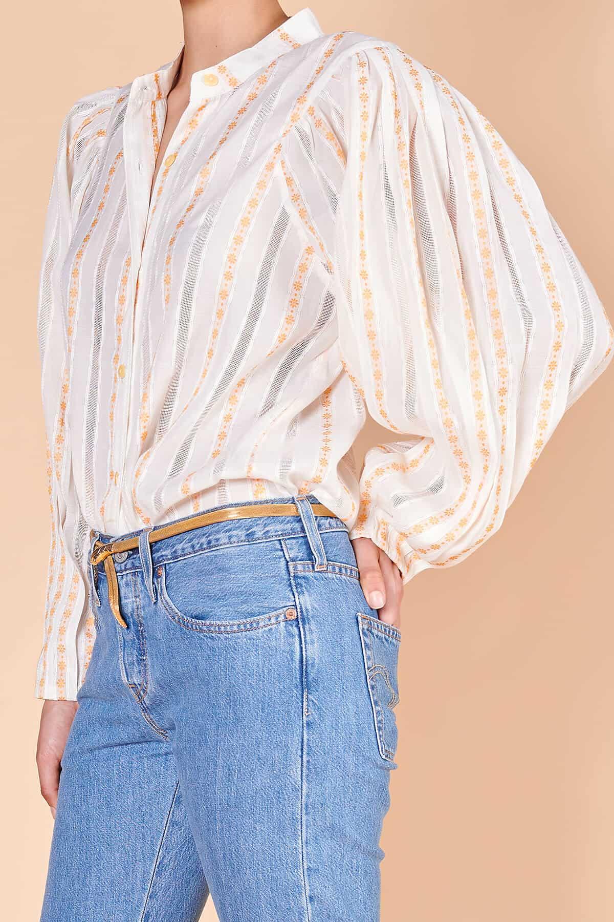 80lerin omuz ve kol kesimini taşıyan poplin çizgili bluz