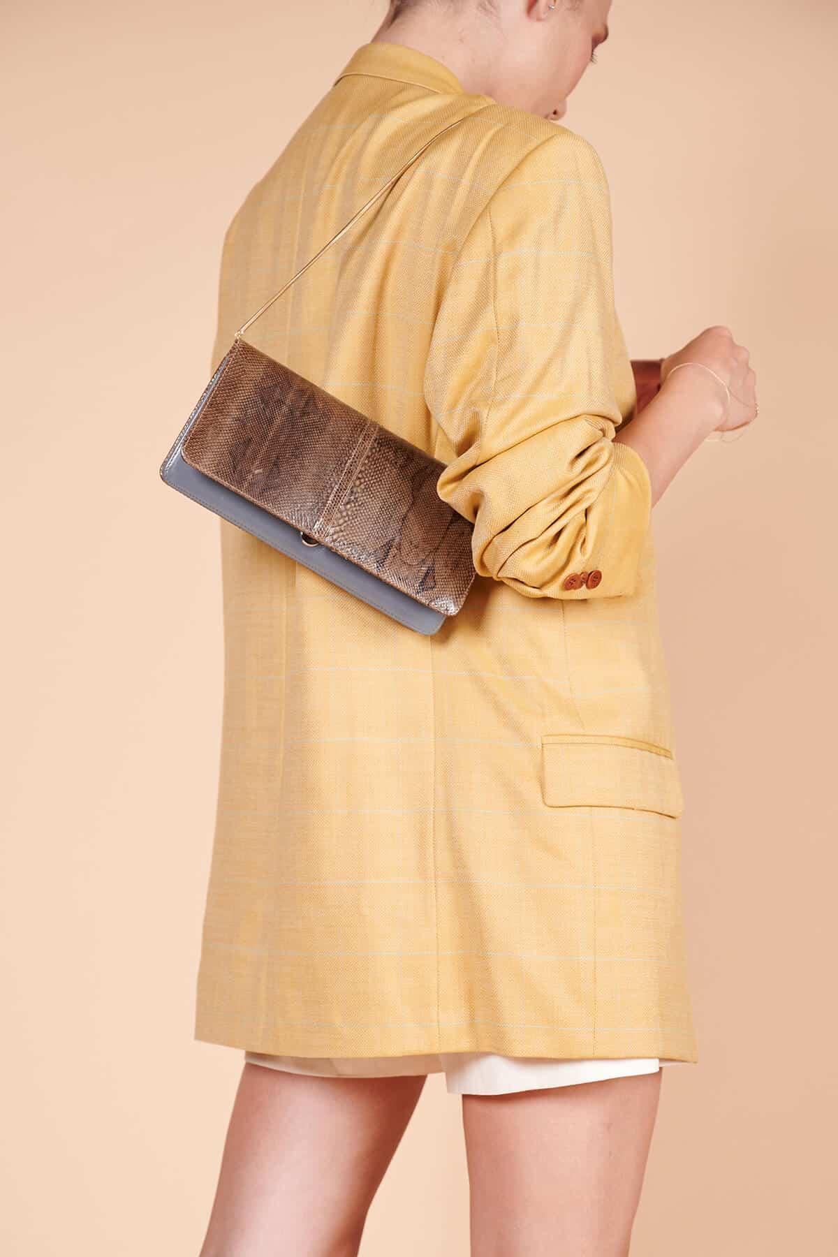 80ler kaliteli vintage yılan derisi dikdörtgen omuz çantası