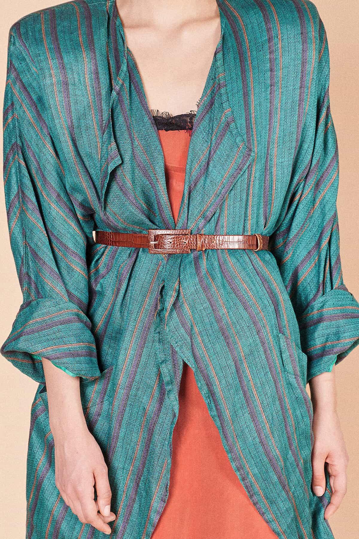 80ler iddialı abartı vatkalı yeşil uzun avangart düğmesiz ceket
