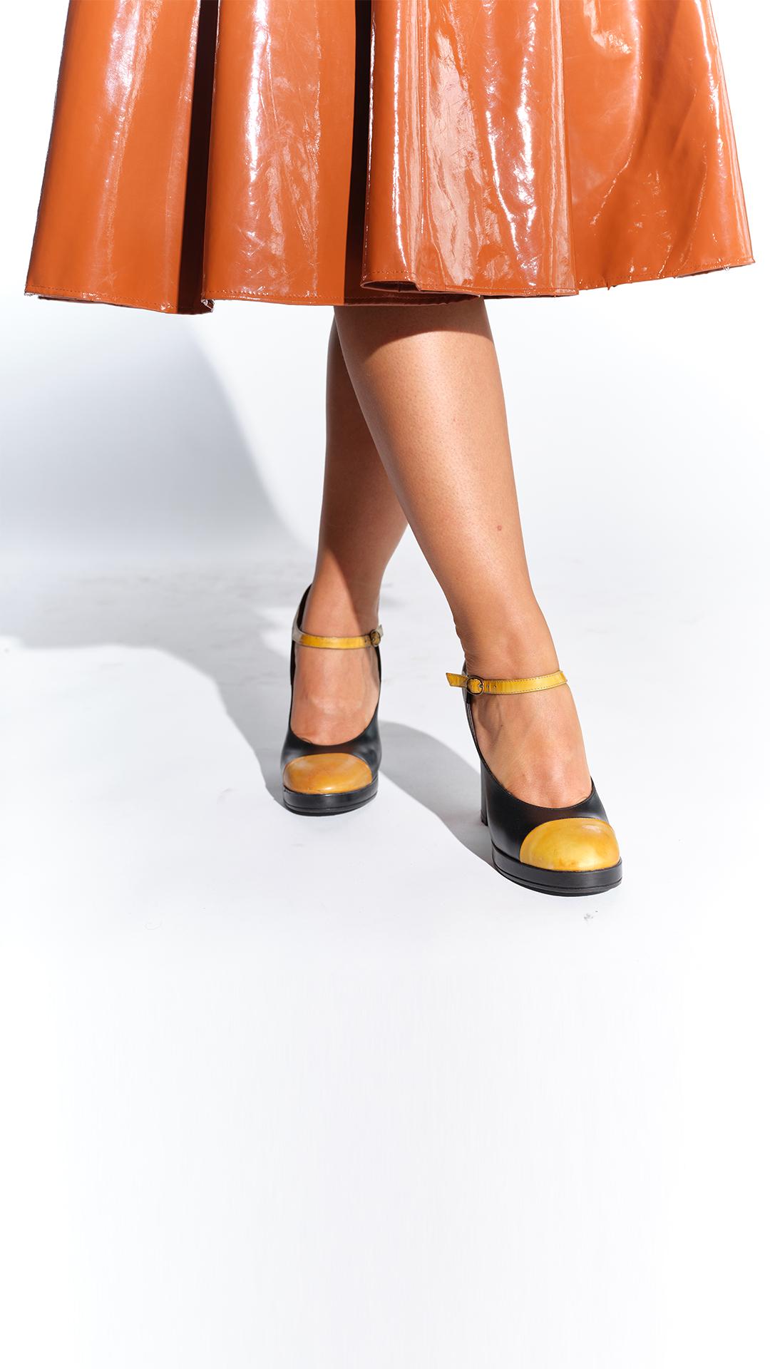 90lar Marc Jacobs hardal sarısı vintage ayakkabı