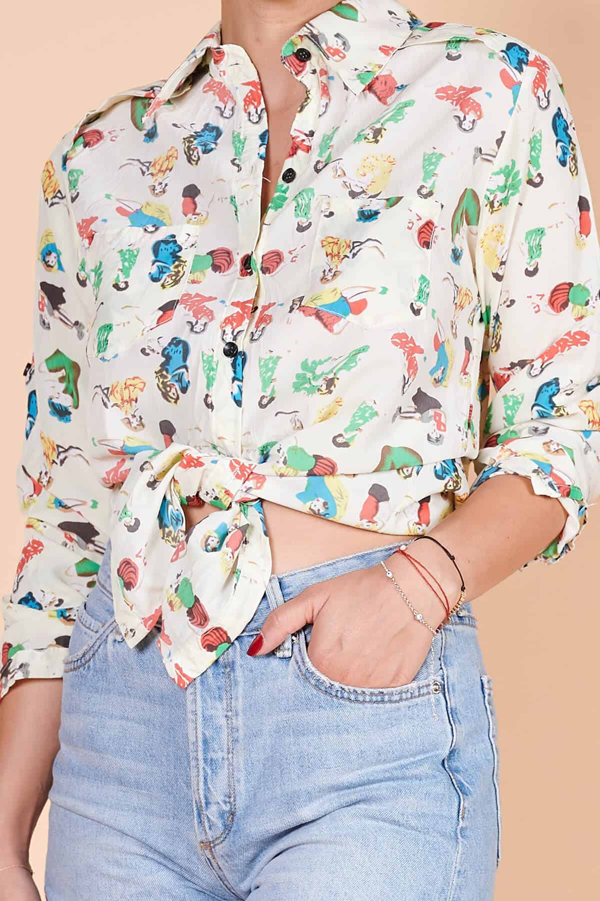 90lar çizgi karakter baskılı desenli krep uzun kollu bluz