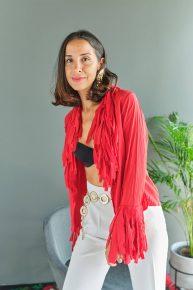 90lar feminen ateş kırmızısı İspanyol havalı püsküllü poplin bluz