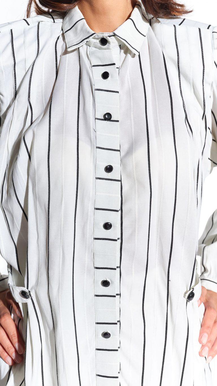 90'lar geniş vatkalı siyah beyaz çizgili maskülen bluz
