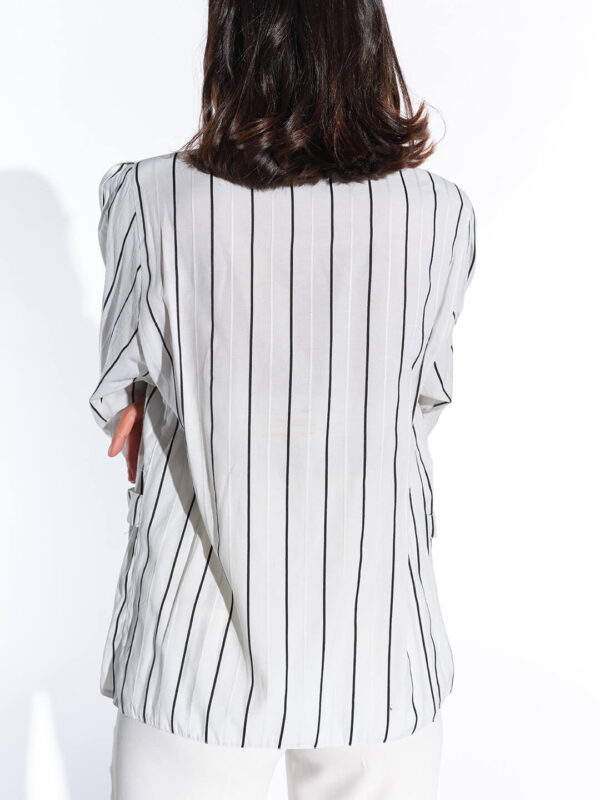 90lar geniş vatkalı çizgili maskülen bluz
