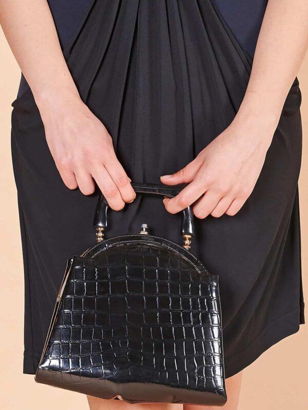 90lar krokodil siyah kısa saplı el çantası