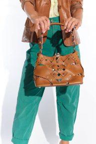 90lar Prada marka üzeri metal şekilli el çantası
