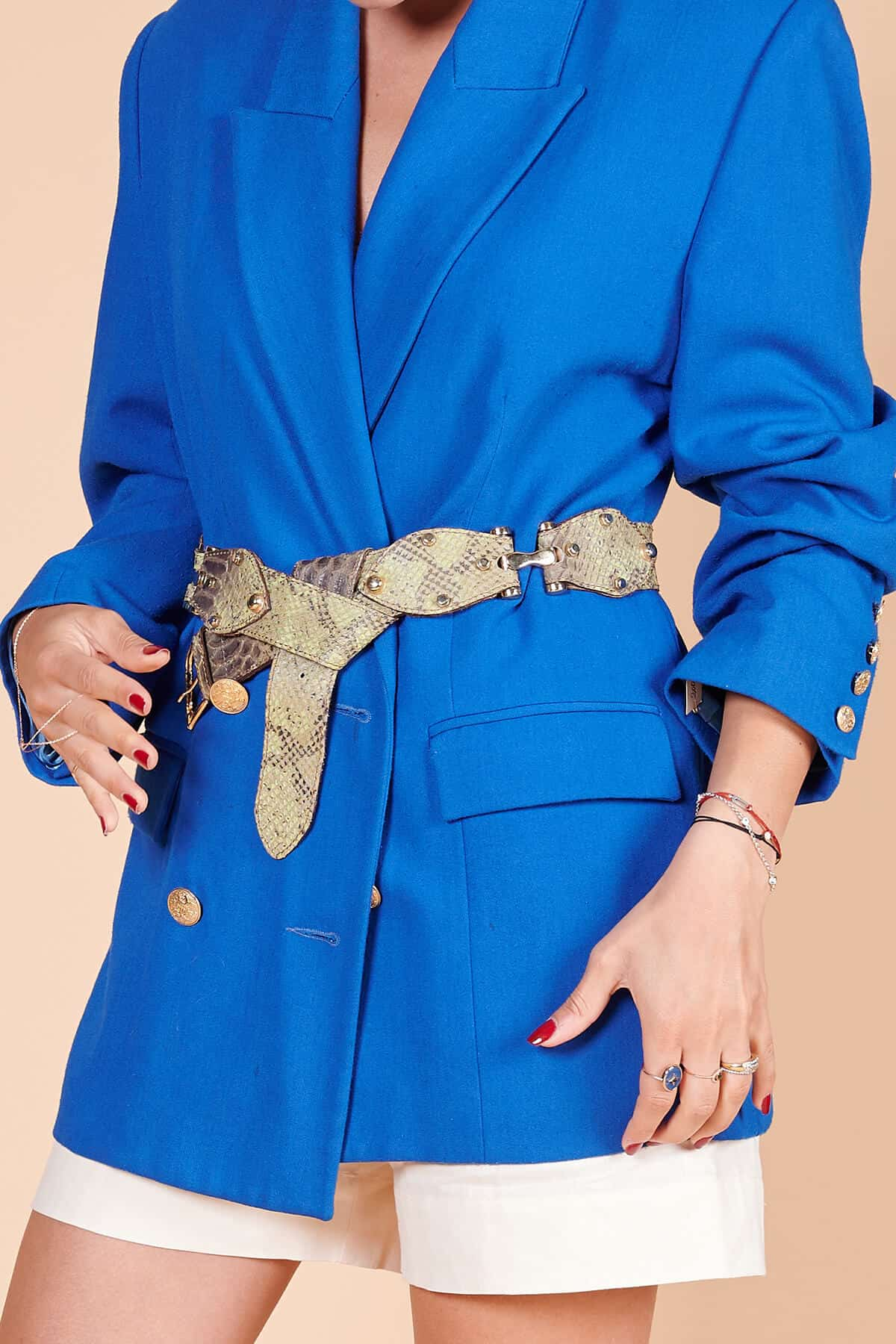 90'lar saks mavi uniseks, müslin kumaş, kruvaze, metal kol düğmeli ceket