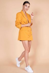 90lar Kruvaze Ceket, hardal sarısı