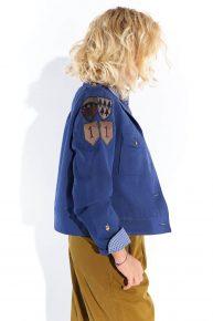 90lar saks mavi, asker montuna benzeyen kalın koton kumaş ceket
