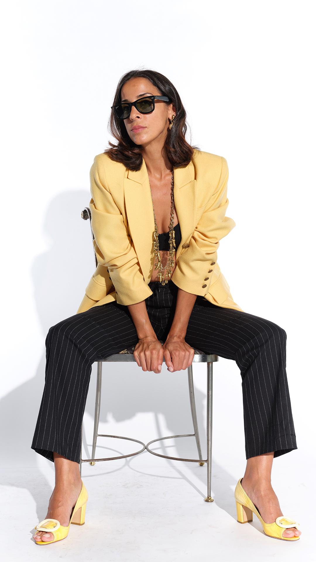 90lar Paris etiketli sarı kaşmir kumaş ceket