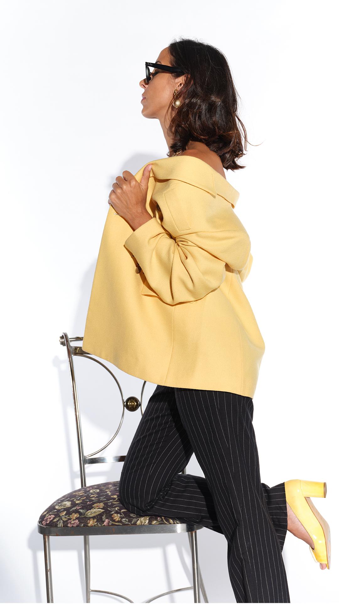 90'lar Exaltation marka sarı kaşmir ceket