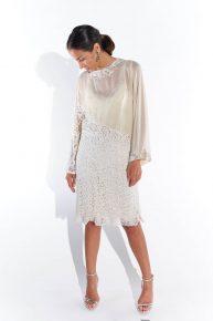 90lar dantel beyaz ipek jarse kumaş abiye diz boyu elbise