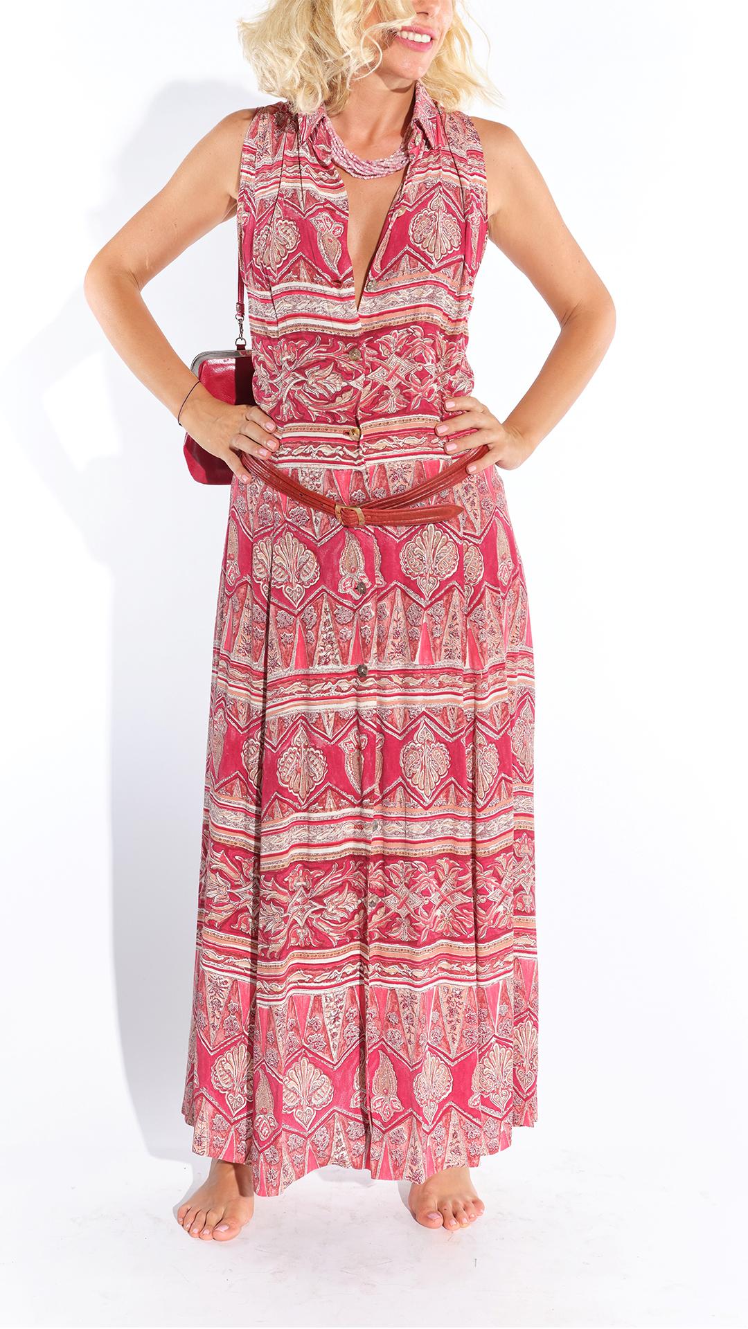 90lar pamuklu emprime desenli elbise