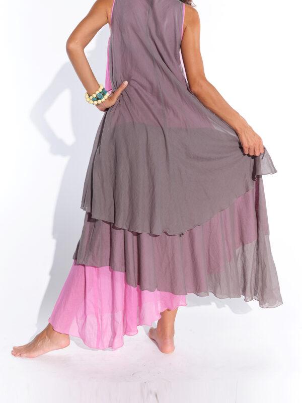 Asimetrik retro gri pembe pamuklu elbise