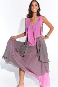 El yapımı retro tarz pembe gri elbise