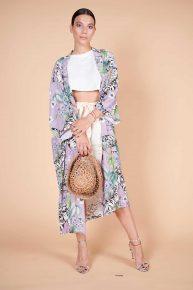 Retro lila rengi egzotik kaplan desenli krep kumaş midi boy kimono