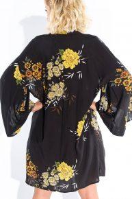 Kimono Retro siyah poplin çiçek desenli kimono Pied De Poule maka