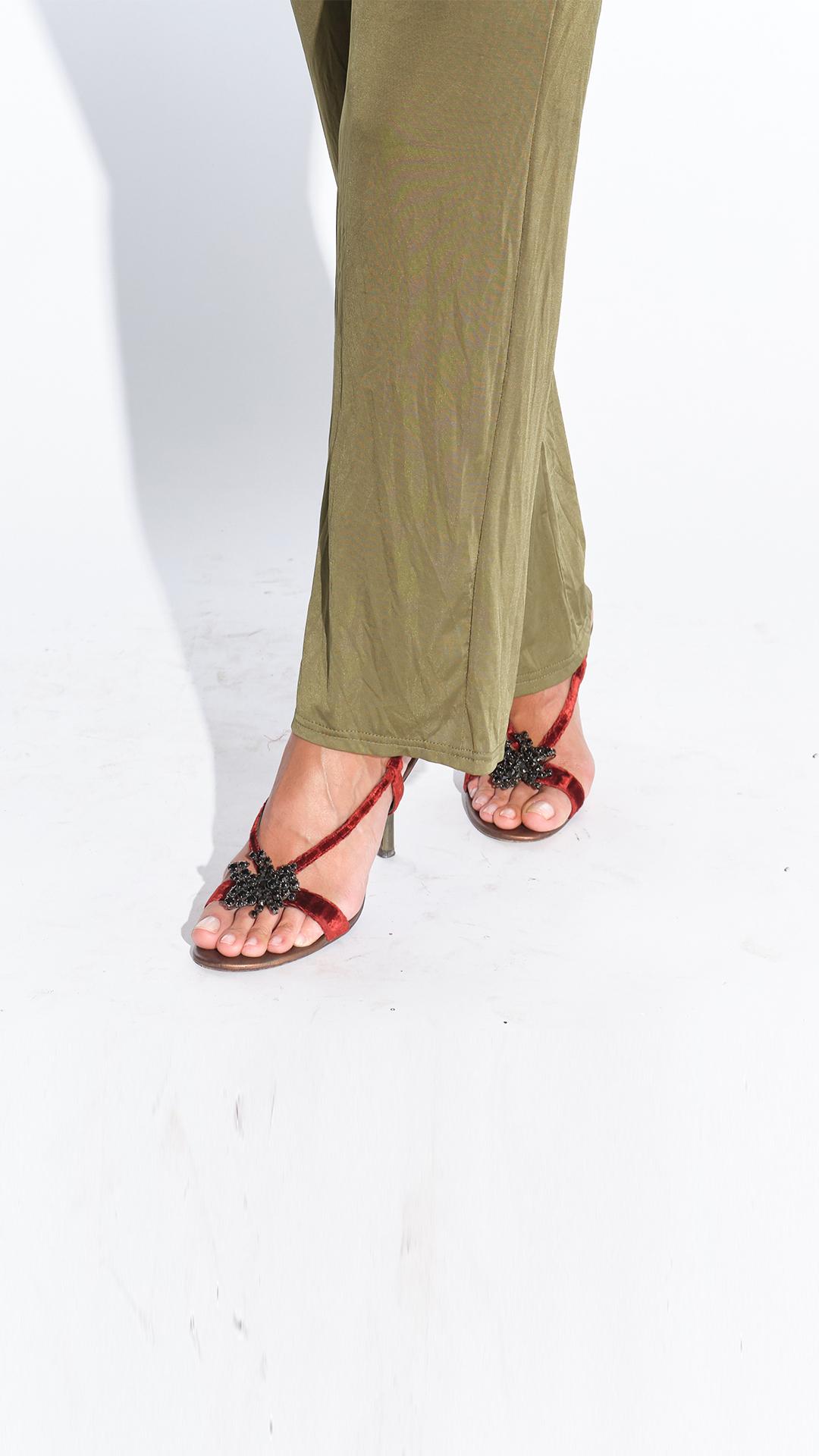 2000ler bordo kadife alçak topuklu ayakkabı