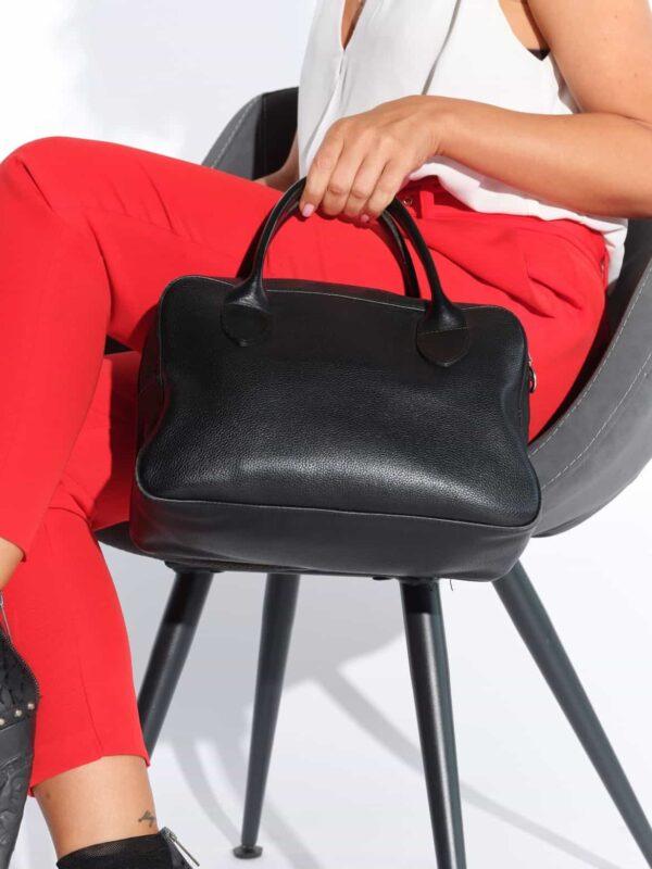 Fransız Longchamp marka siyah deri 2000'ler vintage çanta