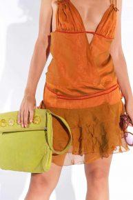 Süet Omuz Çantası, 2000'ler Floresan yeşili süet deri dikdörtgen vintage omuz çantası