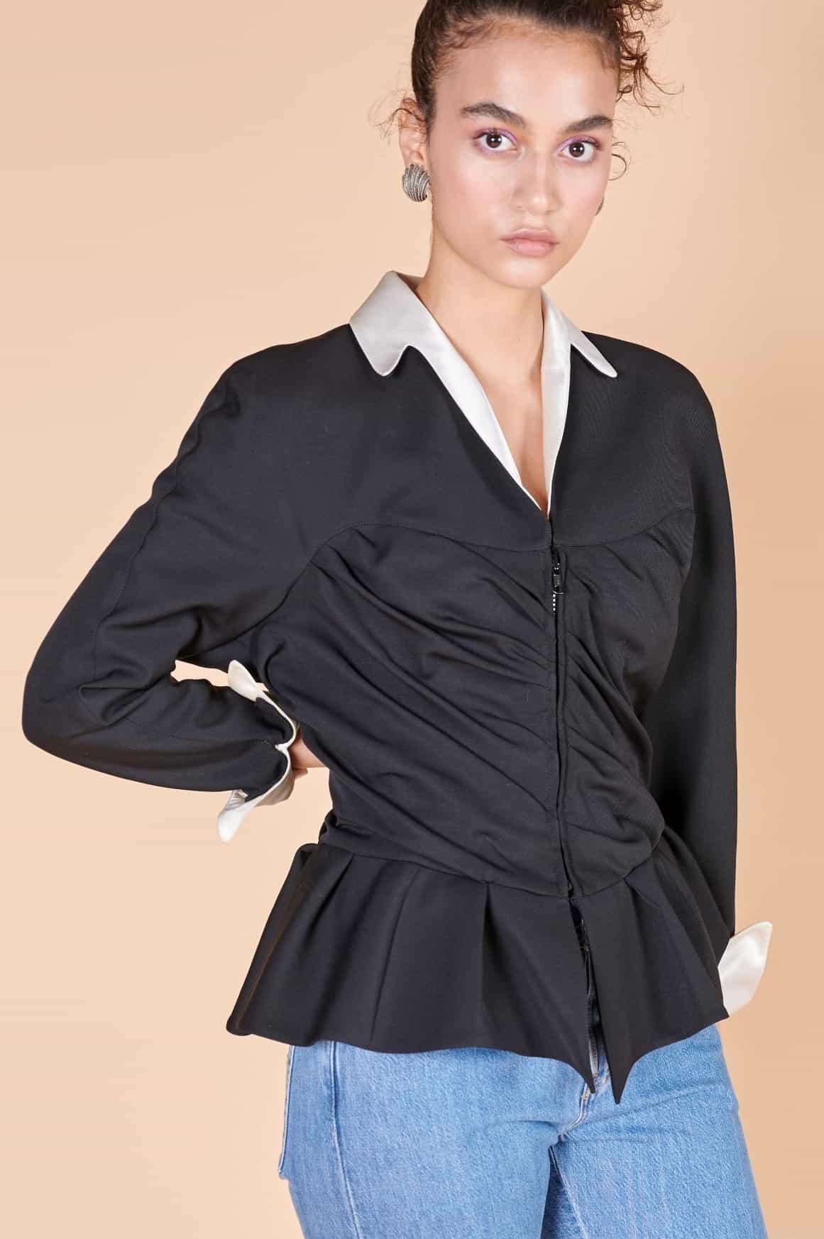 90'lar Fransız Thierry Mugler vintage abartılı omuz vatkalı saten yaka siyah ceket