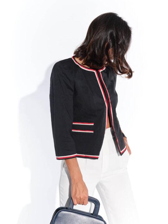 2000ler Donna Karan lacivert kısa kırmızı beyaz şeritli ceket