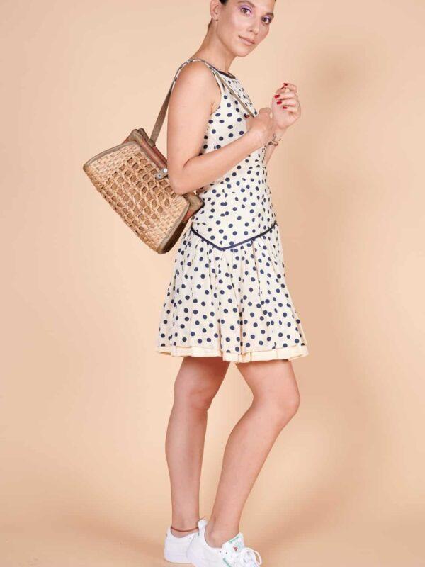 2000ler Lacivert puantiyeli mini boy yazlık elbise