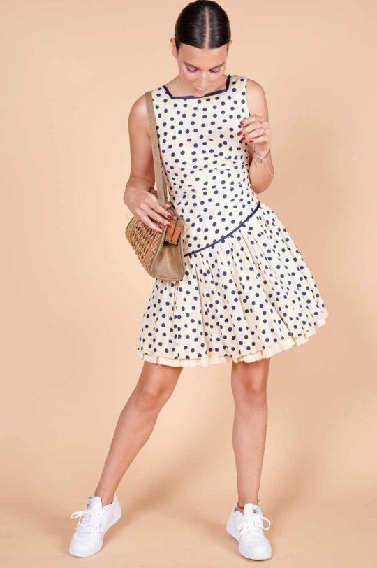 2000ler Lacivert puantiyeli mini boy kalçadan büzgülü elbise